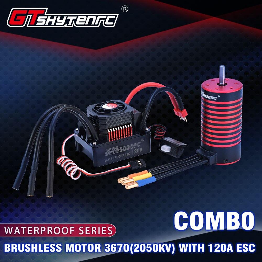 GTSKYTENRC impermeable Set 3670 2050KV 2650KV Motor sin escobillas con disipador de calor 120A ESC sin escobillas para coche 1/10 1/8 RC