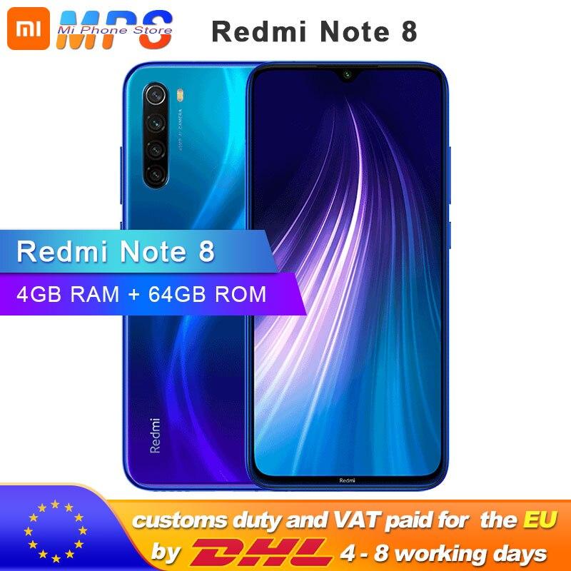 "Global ROM Xiaomi Redmi Nota 8 4GB 64GB Smartphone Snapdragon 665 Octa Core 6,3 ""48MP cámara trasera 4000mAh soporte de teléfono"