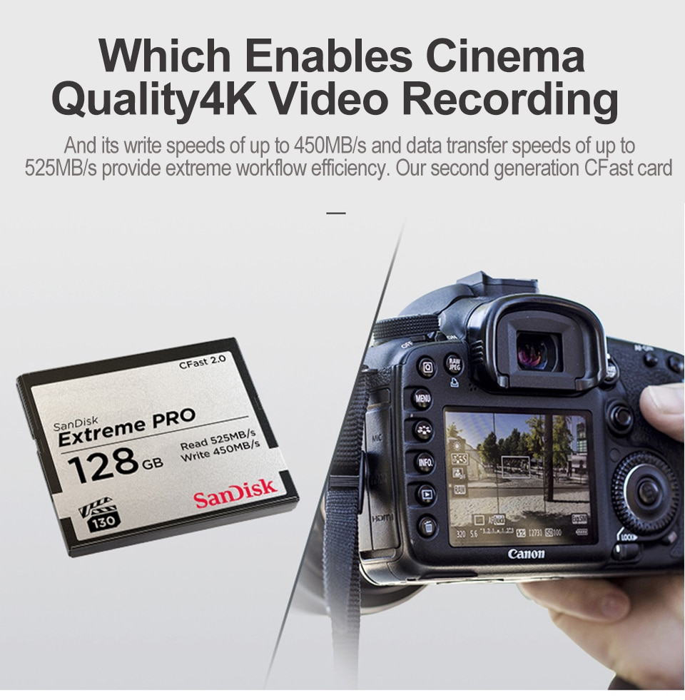 Original SanDisk Extreme Pro Cfast 2.0 CF Memory Card 64GB 128GB Cfast Card For 4K Video Camera And Camcorders Cfast Card Reader enlarge