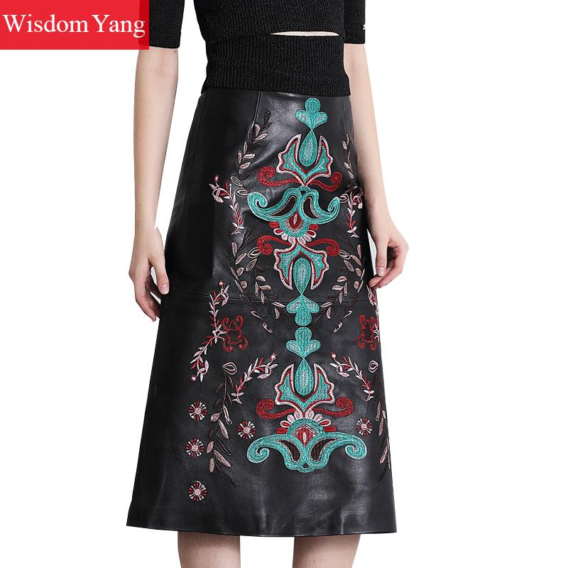 Genuine Leather Skirts womens High Waist Midi Black Embroidery Skirts Woman Bodycon Vintage Party Sexy Ladies A-line Sundress