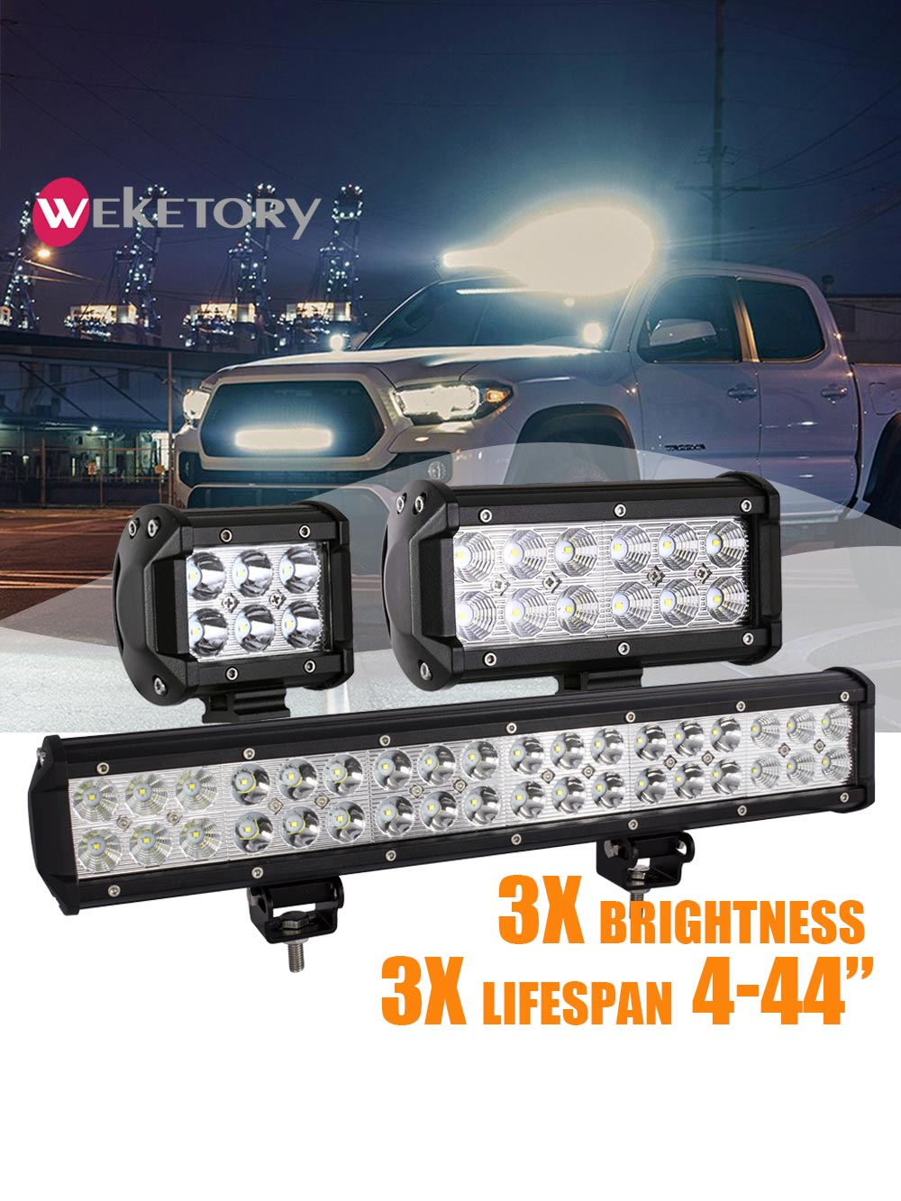 weketory 4 7 12 17 inch 18W 36W 72W 108W LED Work Light LED Bar Light for Motorcycle Tractor Boat Of