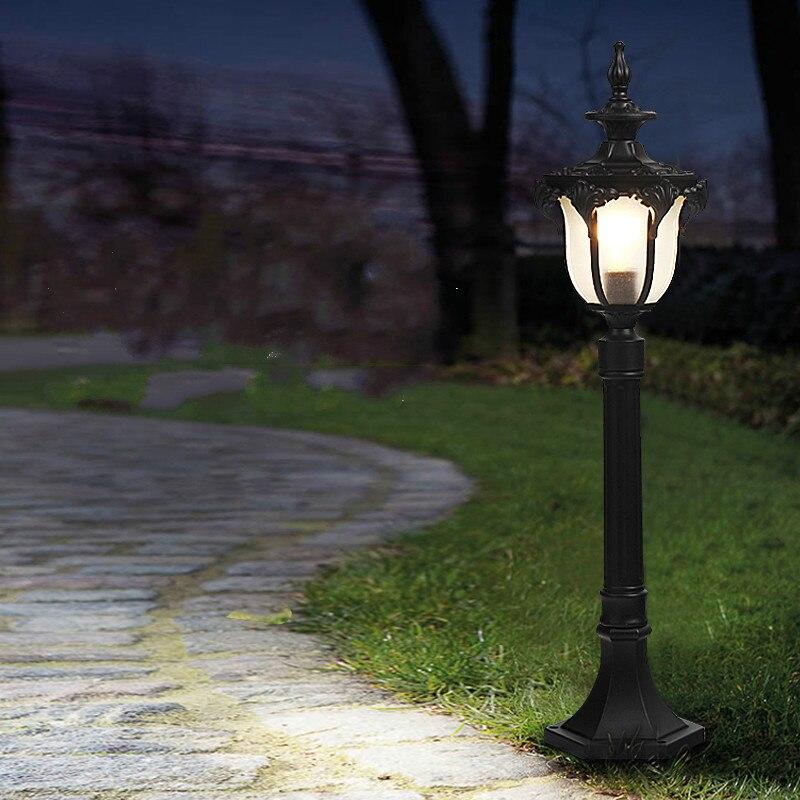 Vintage iluminación para jardín de aluminio puerta poste alto E27 LED lámpara de césped Led Luz de calle parque impermeable exterior iluminación de paisaje