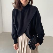 Korean Chic Women Pullover Collar Pullover Loose Irregular Cross Split Skin Friendly Long Sleeve Swe