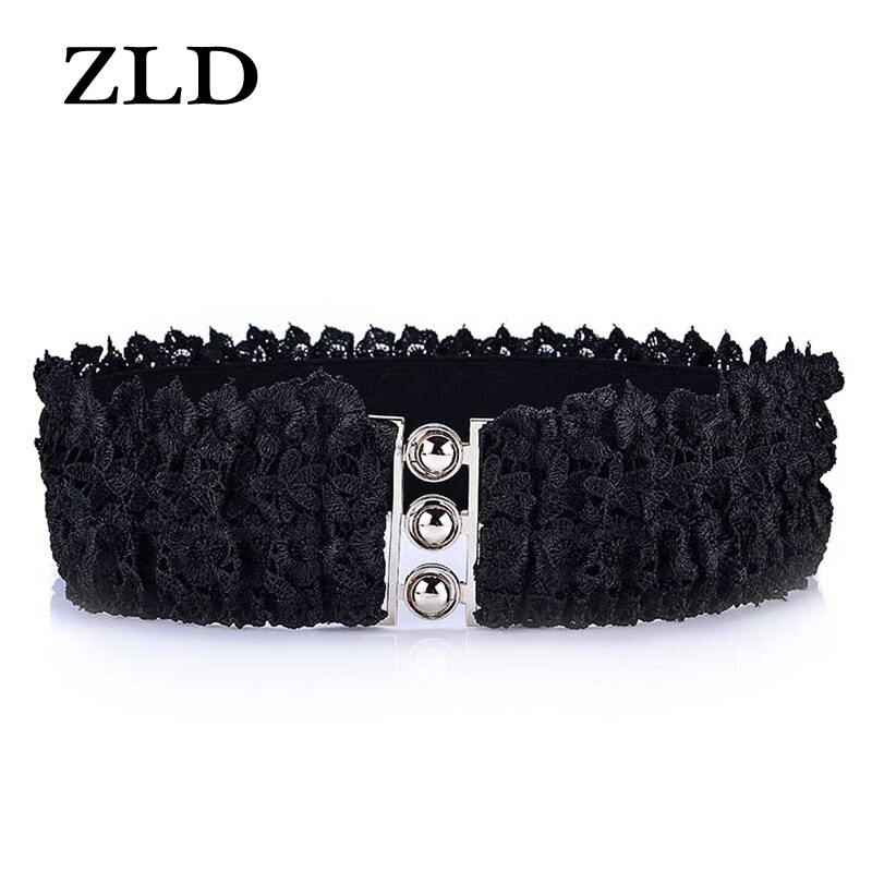 ZLD New fashion Women's belt Sweet loose tight waistband Lace elastic Strap Elegant ladies dress universal decorative belt