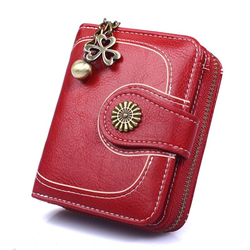 Titular do Cartão de Embreagem Couro para Retro Novo Vintage Bolsas Femininas Carteira Marca Pequena Senhora Zíper Bolsa Mulher Carteiras 2021