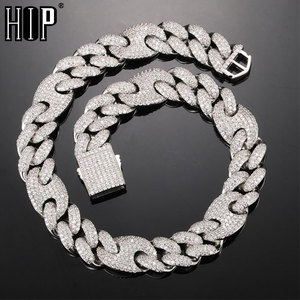 Hip Hop 18MM Bling AAA CZ Cubic Zirconia Coffee Bean Iced Out Luxury Cuban Link Chain Necklace For Men Women Rapper Jewelry