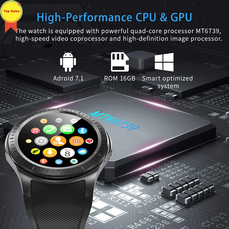 Get smartwatch new fashion 4G watch 1+16GB support SIM 4G wifi gps Bluetooth earphone music for android/ios smartphone smart watch