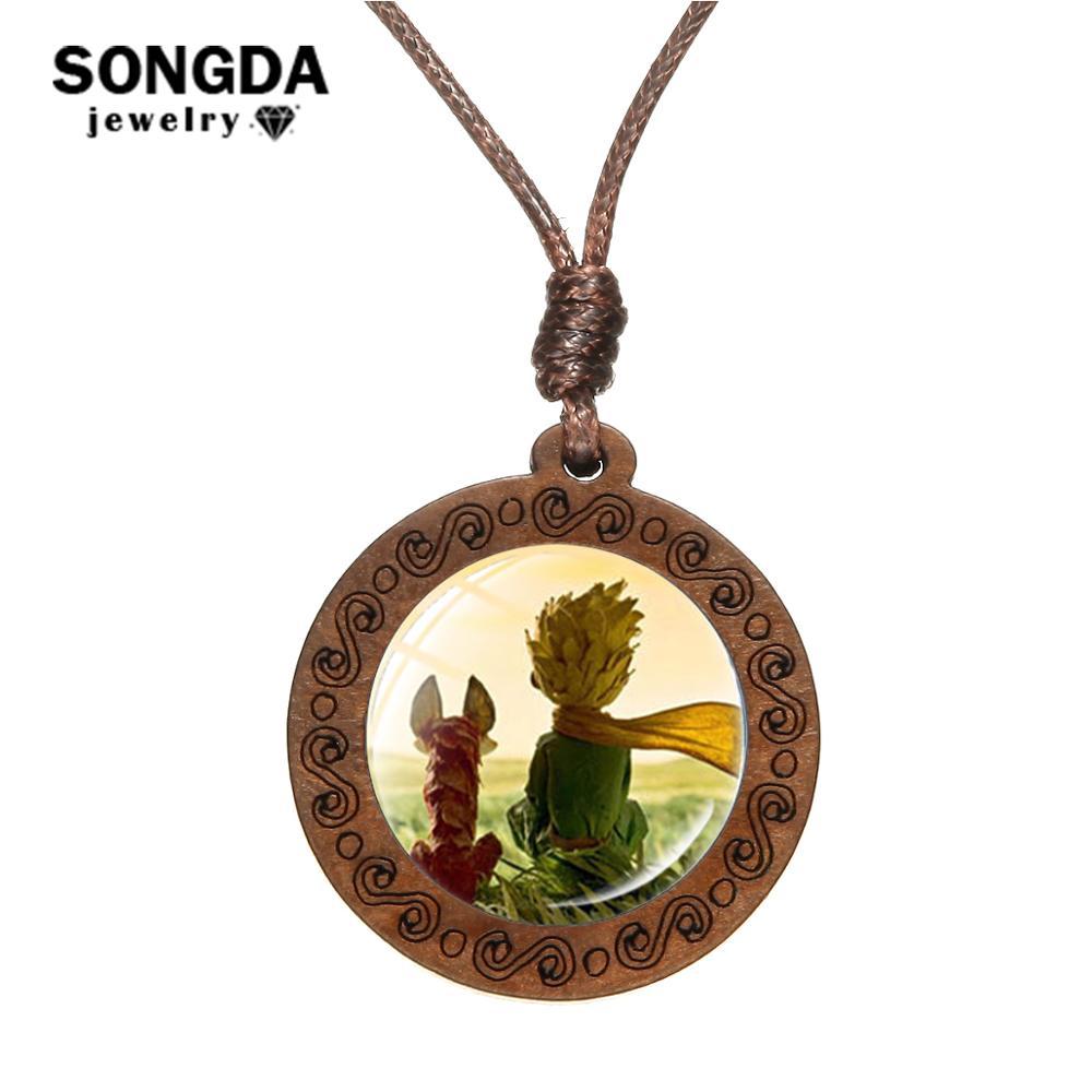 SONGDA, collar clásico Le Petite Prince, colgante de cristal con foto de la rosa del príncipe pequeño, colgante de madera tallada, joyería para niños