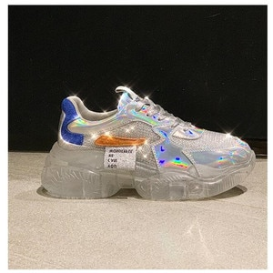 2020spring Trend Women Transparent Sneakers Harajuku Platform Woman Shoes Laser Jelly Casual Shoes Shining Shoes Running Shoes