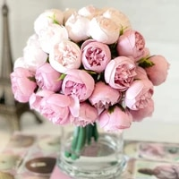 11 inches tea rose bouquet simulation flower fake flowers diy handmade crafts home decor holding flower wedding party decoration
