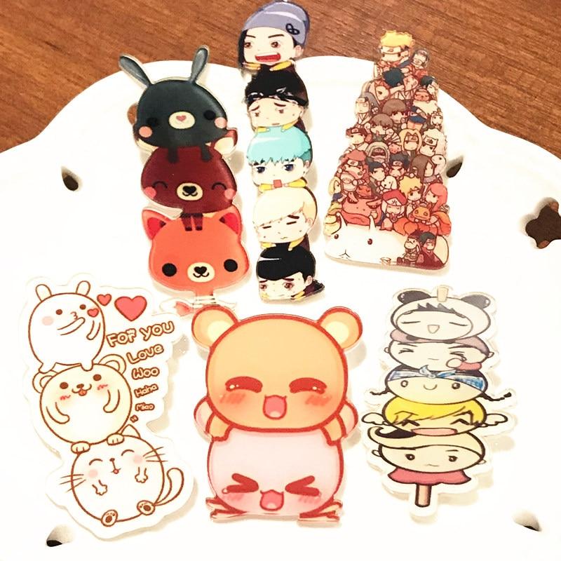 6 uds insignia de personaje animé figura de Animal oso Naruto pollo icono broche Pin para mochila DIY accesorios barket Girl Boy regalo