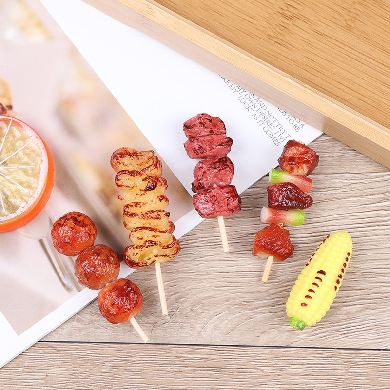 1pc Mini Pretend Play Food Toy Simulation BBQ Miniature For Doll House Kitchen Decoration Toys For Children