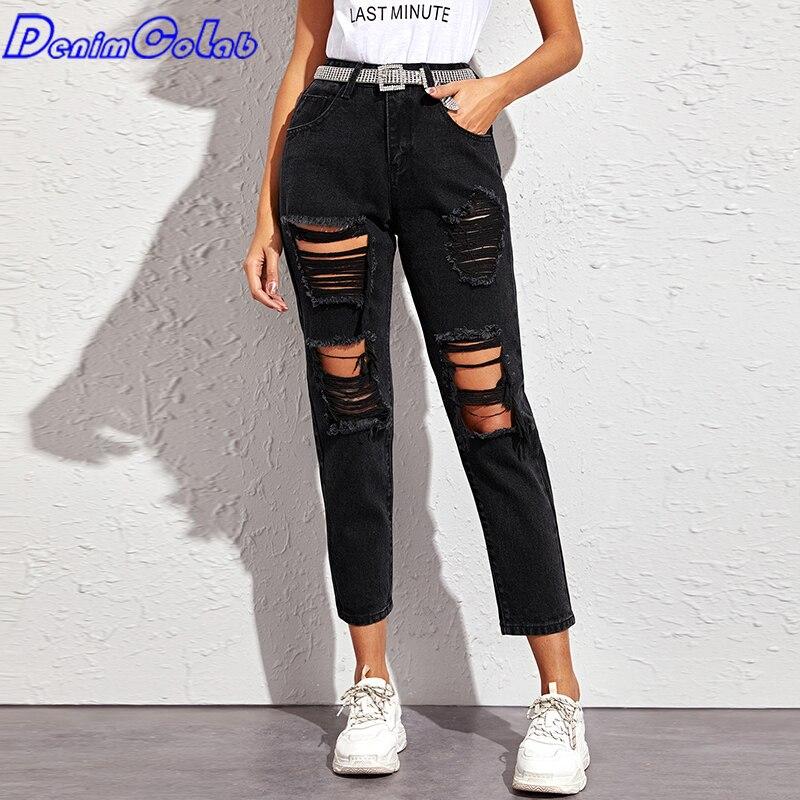 Модные свободные прямые джинсы DenimColab с отверстиями 2021, женские повседневные джинсы-бойфренды с высокой талией, брюки, женские рваные джинсы