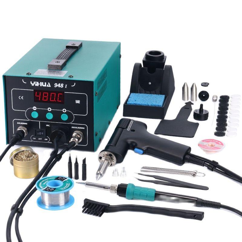 948-I Digital Display Soldering Station Suction 90W  Temperature Adjustable Soldering Iron Tin Gun Desoldering Station