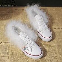 Femme réel fourrure toile chaussures plate-forme mocassins vulcaniser chaussures femmes escarpins décontractés neutre mode classique baskets