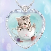 heart shaped crystal glass teacup cat pendant womens necklace fashion metal clavicle chain accessories party jewelry girl gift