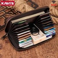 kavis rfid blocking theft wallet cow leather female men credit card wallets organizer wallet cardholder women long lady perse