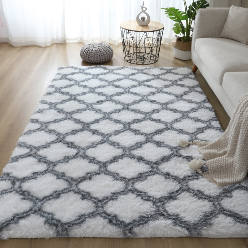 hogar moderno Alfombra de estilo nórdico para el hogar alfombra de pelo largo para dormitorio alfombra para los pies de la cama alfombraa alfombra lavable con diseño de personalidad antideslizante alfombras para salon