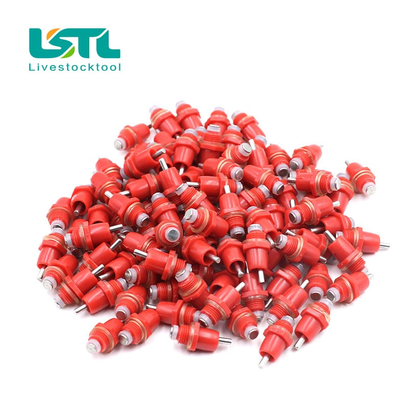 10Pcs Poultry Chicken Water Nipple Drinker Drinking Fountain Red Spring Type Mouth Water Poultry Farming Feeding Equipment
