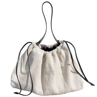 2020 Korea Dongdaemun contrast color drawstring linen canvas bag handbag bag female large-capacity travel bag dumpling bag sac