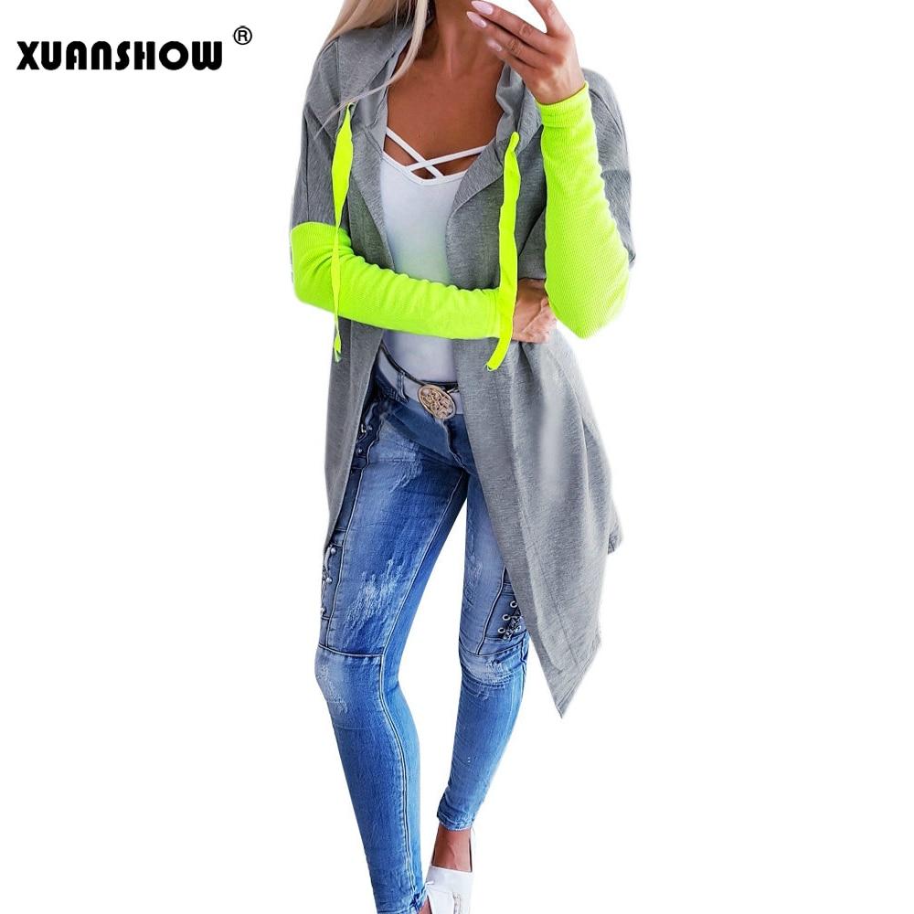 XUANSHOW nueva llegada otoño Hoodies abierto Stitch mujeres chaquetas moda fluorescente verde rosa Patchwork largo Mujer
