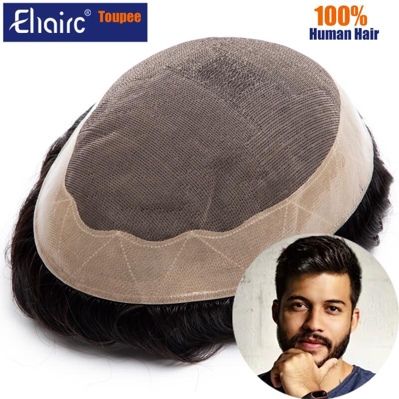 Men Hair Toupee Men's Wigs Breathable Mono Male Hair Capillary Prosthesis 6