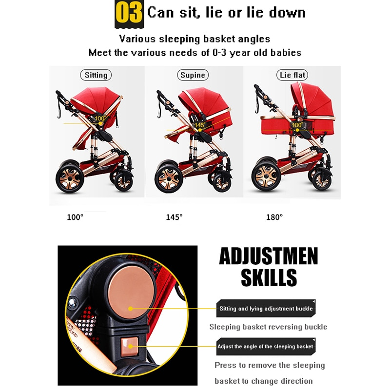 Baby stroller 3 in 1 portable two-way travel can sit and lie down folding stroller aluminum frame high landscape baby stroller enlarge