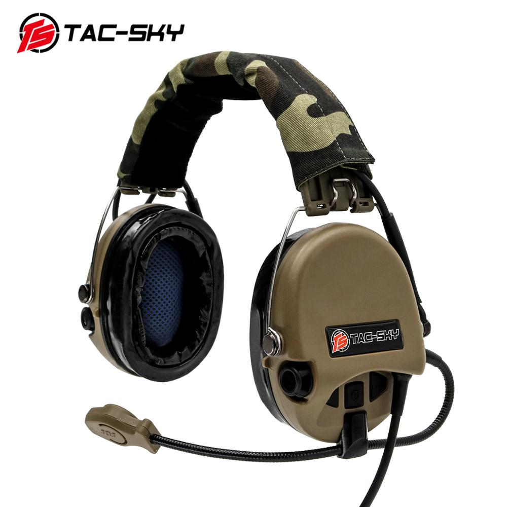 TAC-SKY Airsofte Sordin silicone earmuffs noise reduction pickup military tactical hunting shooting headphones -DE enlarge