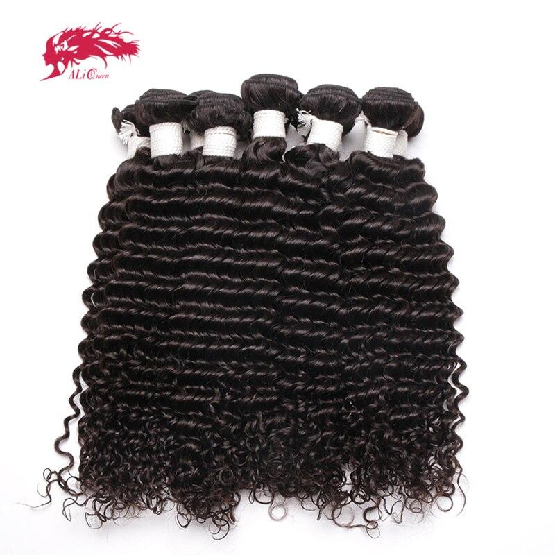 Productos para el cabello Ali Queen, cabello virgen indio con ondas profundas, venta al por mayor, 10 uds, lote de mechones de cabello humano, 10-26 pulgadas de Color Natural