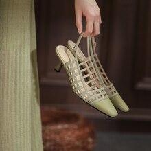 Genuíno couro de vaca sapatos femininos 2021 senhoras de verão mid-heel retro roman sandálias tec