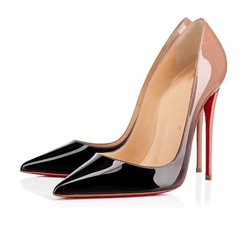 Luxury Pumps Sexy Ladies Platform Clear Women Gradient High Heels 8 10 12cm Red Bottom Drees Mules W