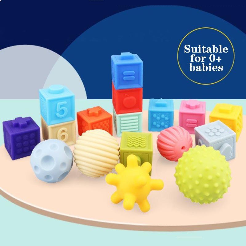 Детская игрушка для раннего развития, захватывающий мяч, рельефные строительные блоки, игрушка, мягкий клей, тактильный мяч, захват, трениро...