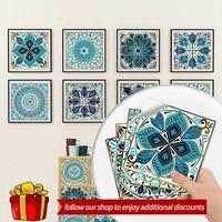 10pcs mandala tile pattern matte floor sticker 20cmx20cm kitchen tile desktop renovation waterproof decorative wall sticke