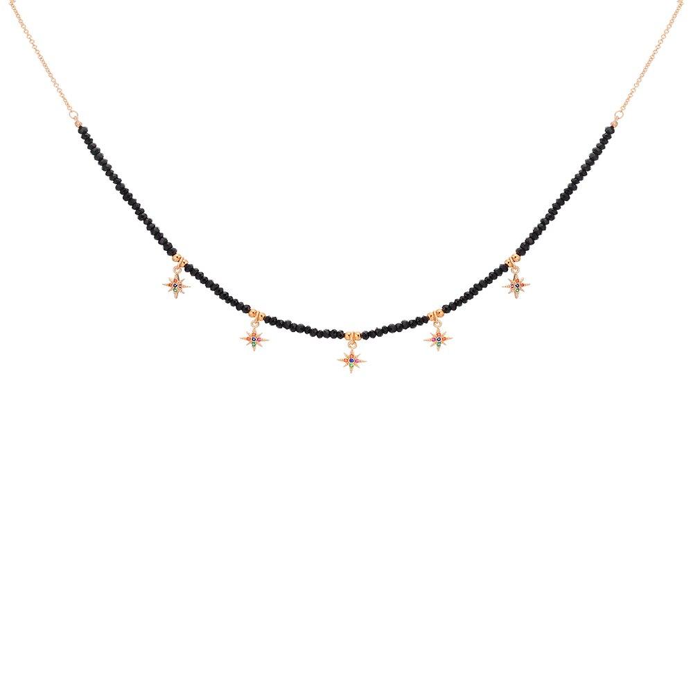 Collares coloridos de estrella de circón CZ gargantillas de anís para mujeres, cadena de cuentas negras, collar Boho, regalo de joyería a la mejor amiga 2020 nuevo