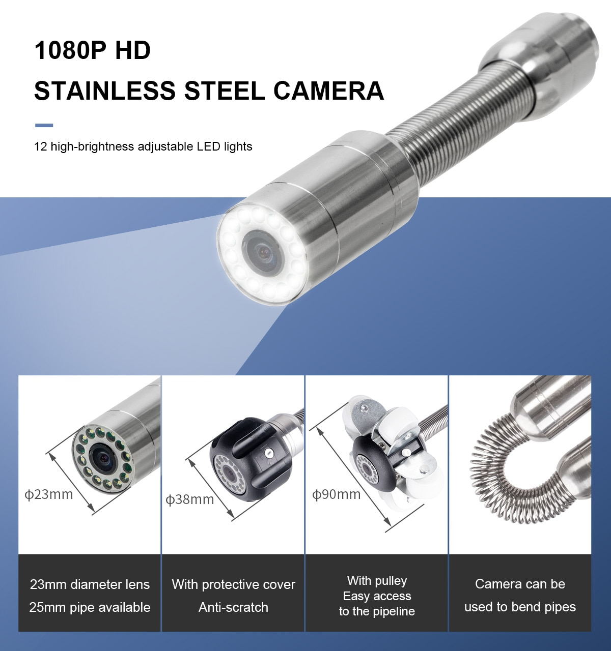 7mm Cable Pipe Inspection Video Camera 9 Inch with DVR 8GB TF Card , SYANSPAN Waterpoof 23MM Drain Sewer Pipeline Endoscope