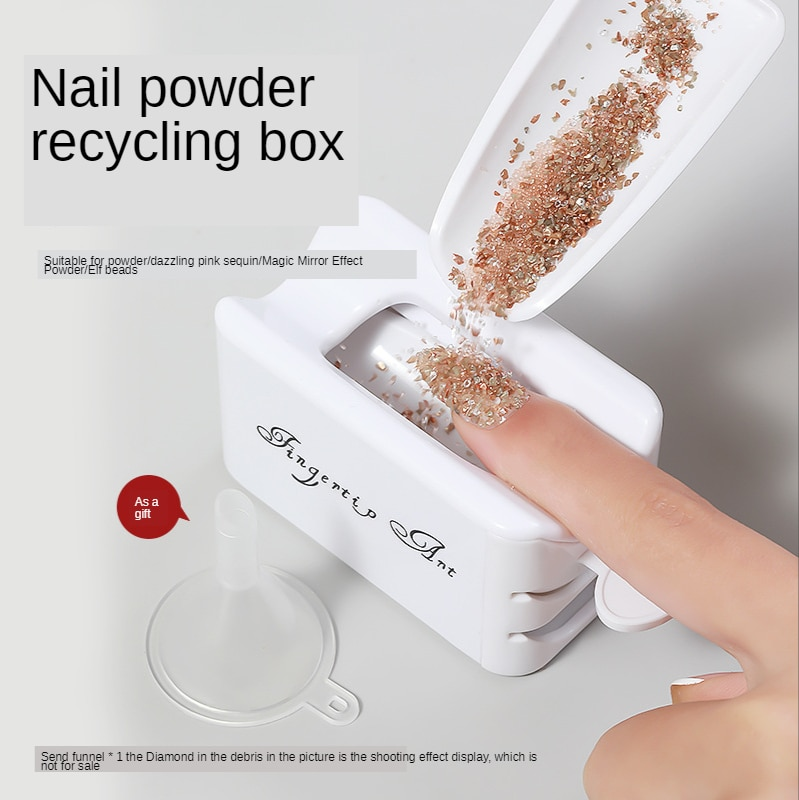 AliExpress - White ABS Double Layer French Powder Box Recycled Nail Powder Storage Box Portable Infiltration Powder Container Nail Tool D302