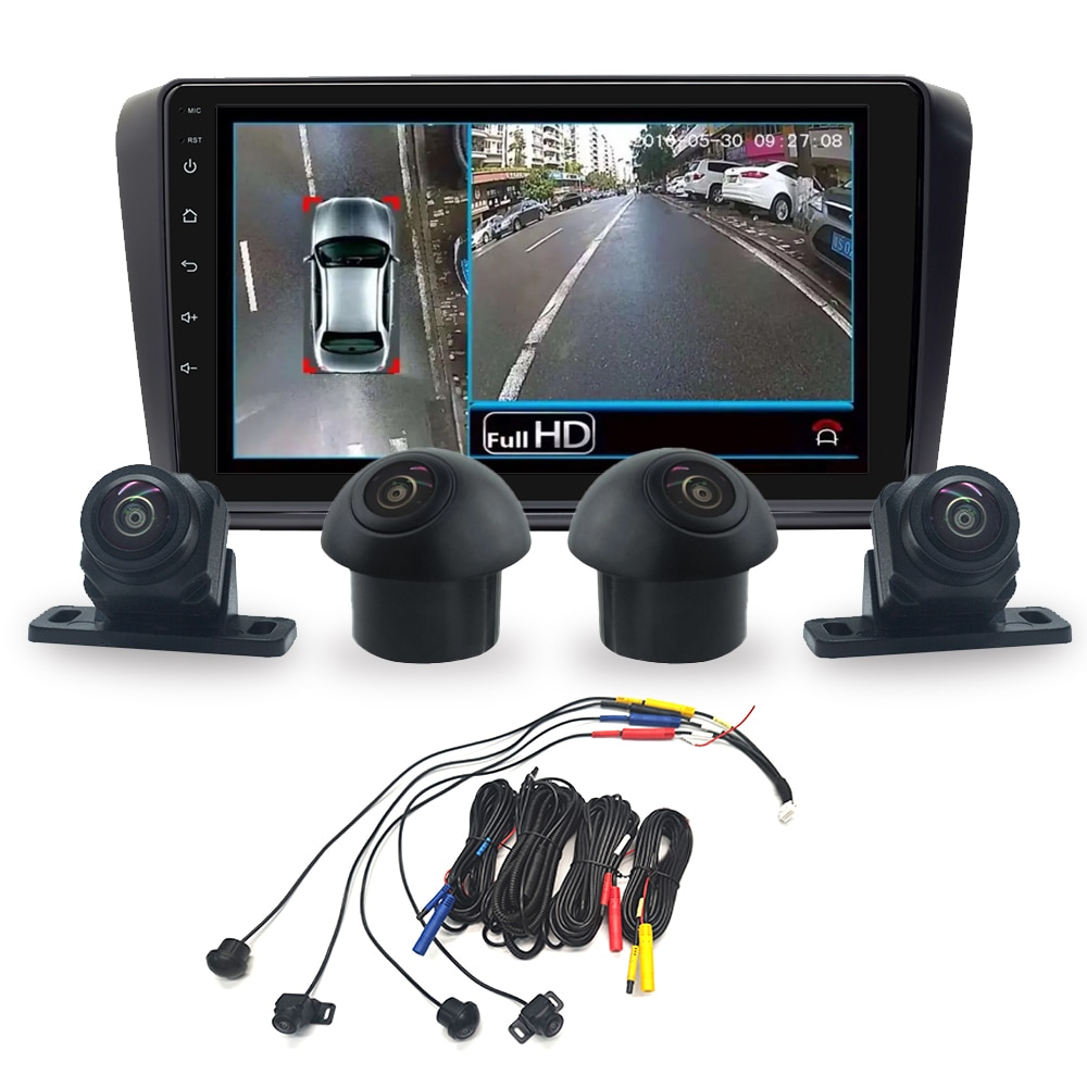 Xonrich HD 3D Panoramic  Camera Car Bird View System 4 Camera 720P Rear/Front/Left/Right  3D 360 Camera For Android Car Radio