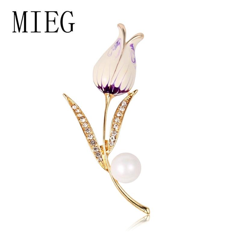 Marca MIEG broche de perlas de imitación tulipán flor suéter broches para mujeres joyería