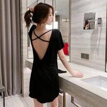 2021 Summer Sexy Off-the-Shoulder Strap Bodycon Black Dress Casual Loose Home Clothes Harajuku Robe