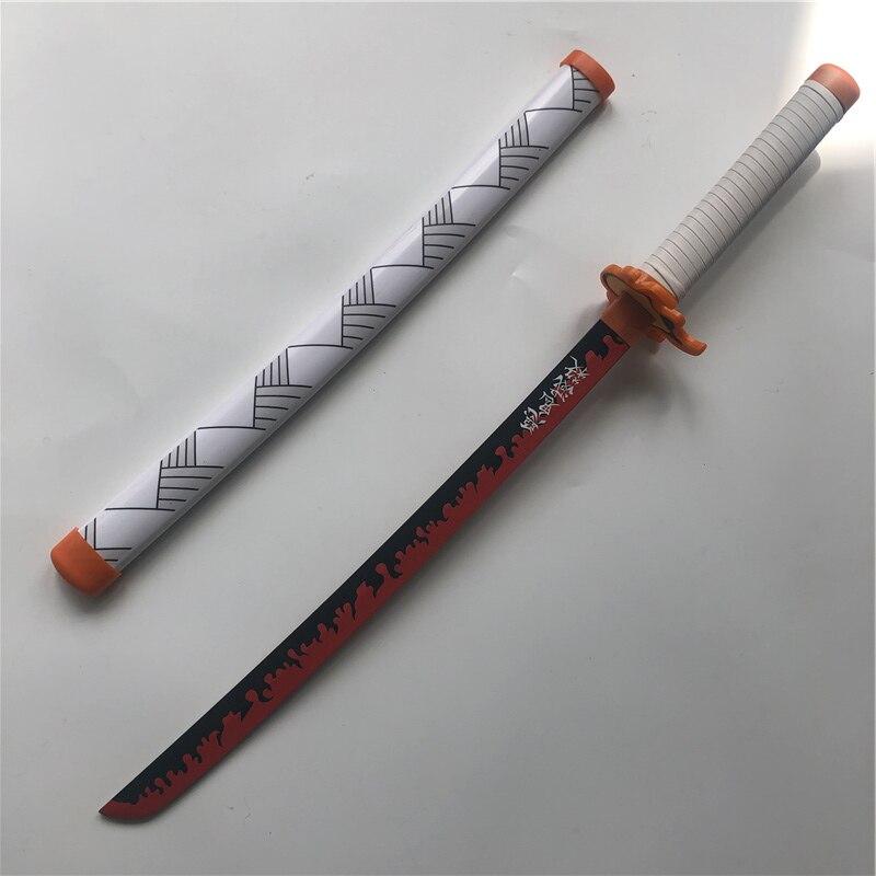 1:1 Kimetsu no Yaiba السيف سلاح شيطان القاتل Rengoku Kyoujurou B تأثيري السيف أنيمي النينجا سكين الخشب لعبة 80 سنتيمتر