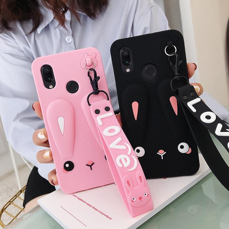 Adorable Phone Case For OPPO RENO 2 Reno2 Safe Silicone Rabbit Case With Cute Short + Long Lanyard