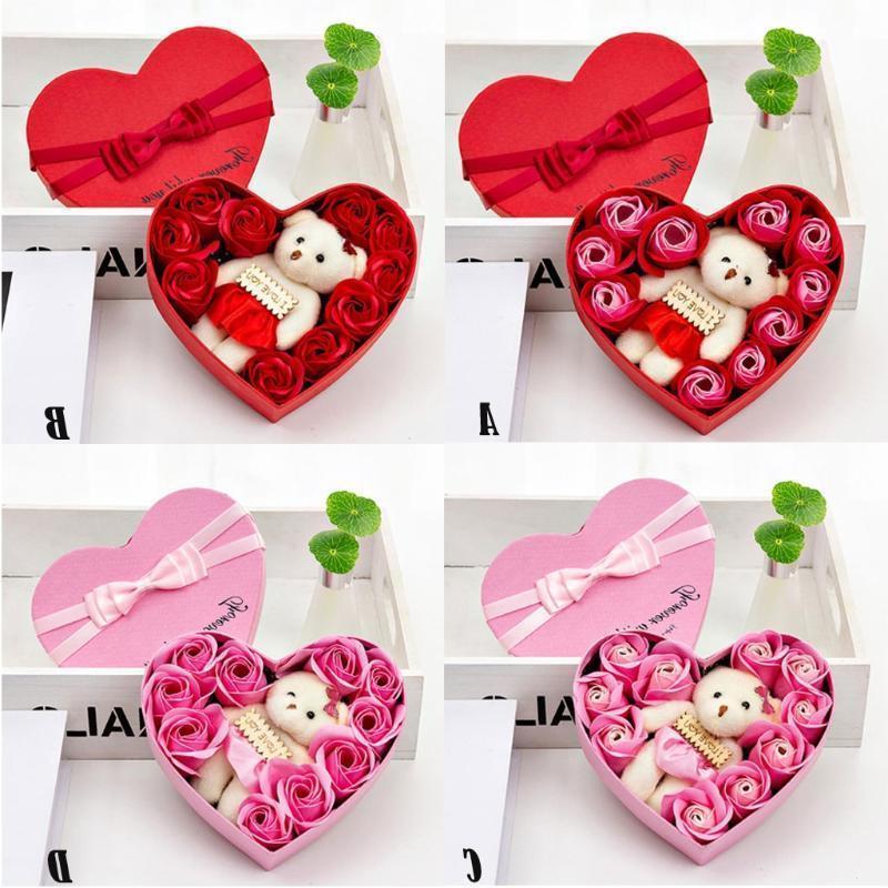صندوق ورد صابون على شكل قلب ، 10 زهور ، باقة دب ، زينة زفاف ، مهرجان ، 2020