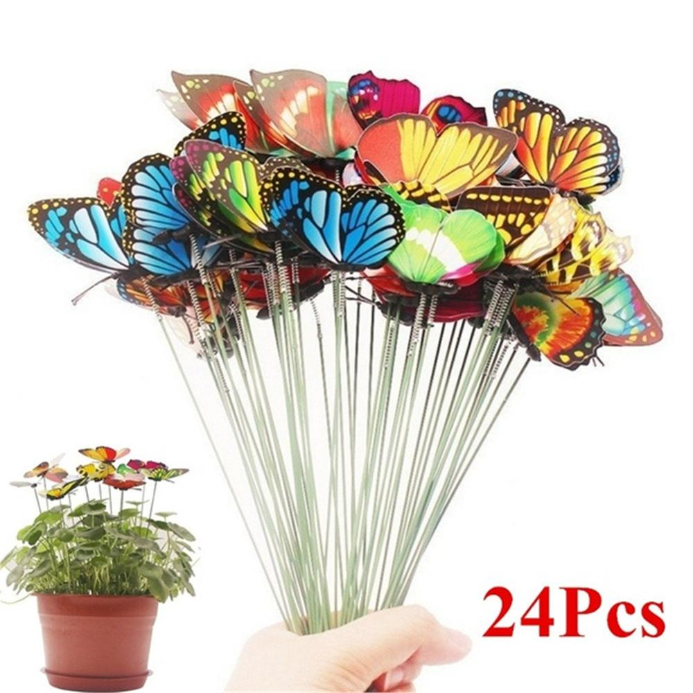 24Pcs Butterfly Stakes 7cm Garden Butterfly Stakes Decor Outdoor Yard Patio Planter Flower Pot Garden Decor 35FP18