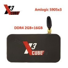 X3 Cube Tv Box Android 9.0 Amlogic S905X3 2GB DDR4 16GB ROM décodeur 2.4G/5G WiFi LAN 1000M Bluetooth 4K Android TV Box