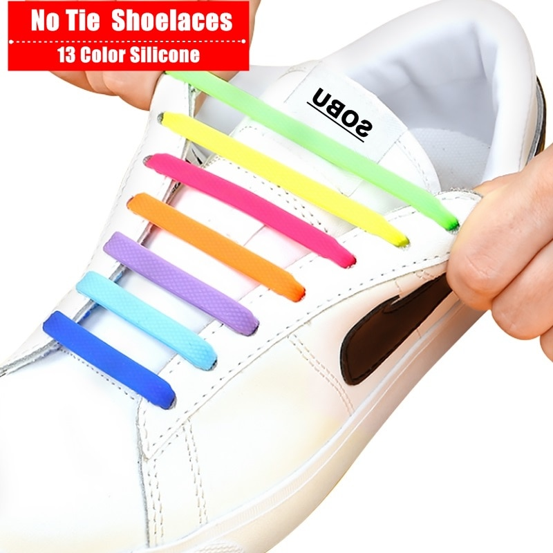 16Pcs/Set Silicone Elastic Shoelaces Elastic Shoe Laces Special No Tie Shoelace for Men Women Lacing