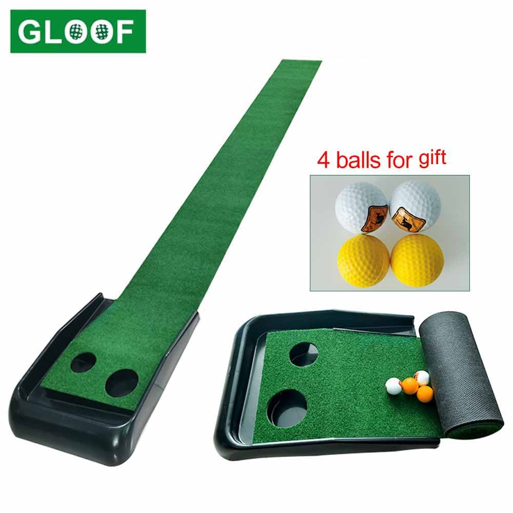 Golf Putting Mat with Auto Ball Return, Golf Game Practice Equipment Training Mat Gift for Men Home Office Indoor Outdoor Use