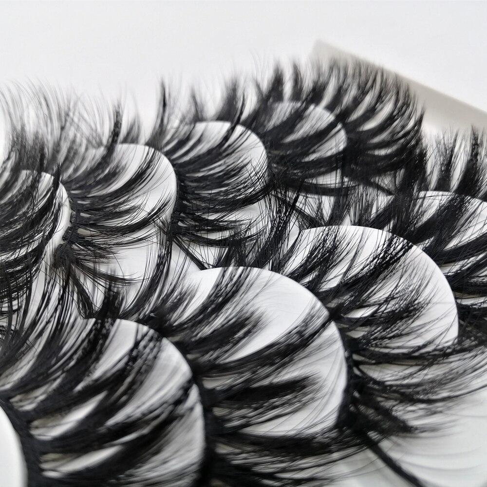 5 Pairs 5D Thick Fluffy 22mm False Eyelashes Dramatic Long Resuable Full Volume Wispy Glam Beauty Makeup Lashes Set