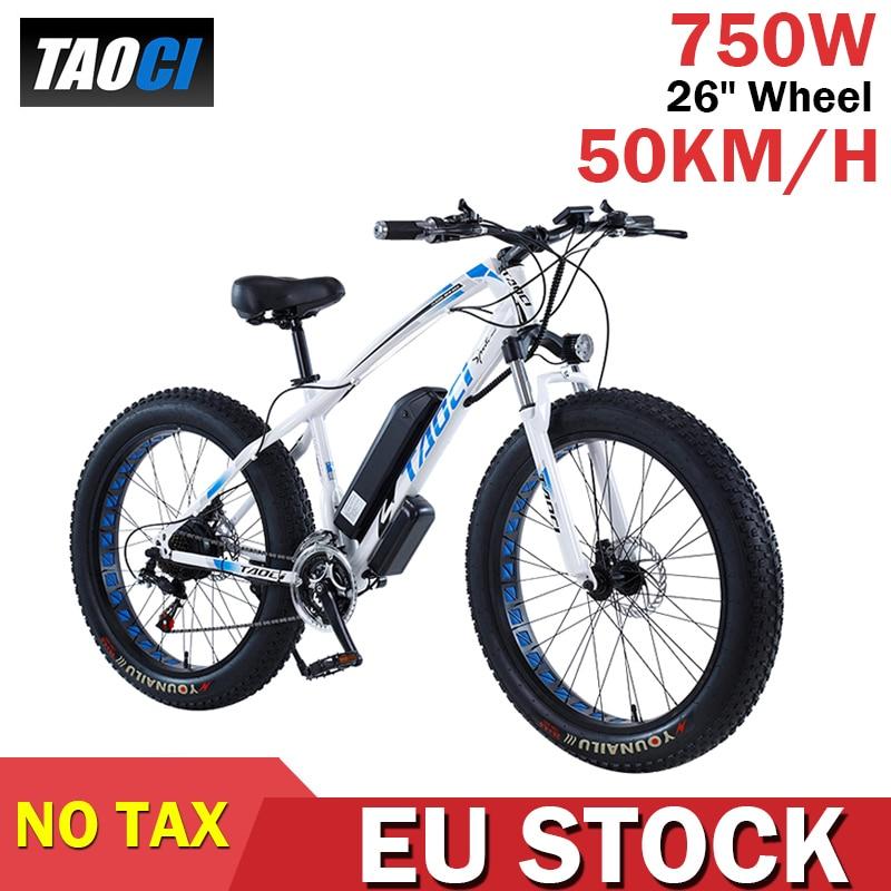 TAOCI 26 بوصة عجلة الكبار دراجة كهربائية كبيرة 750 واط 48 فولت 13AH 50km/ساعة E-الدراجة 21 سرعة دراجة جبلية الكهربائية الثلوج Ebike