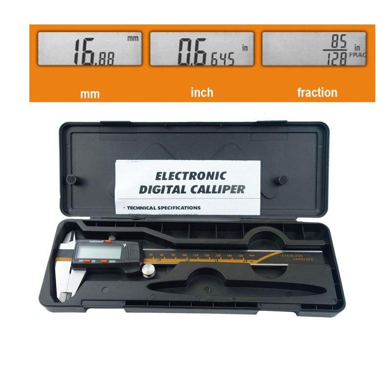 Pantalla electrónica Digital, calibrador Vernier LCD de acero inoxidable, 6 pulgadas, 0-150mm, fracción/MM/pulgadas con funda