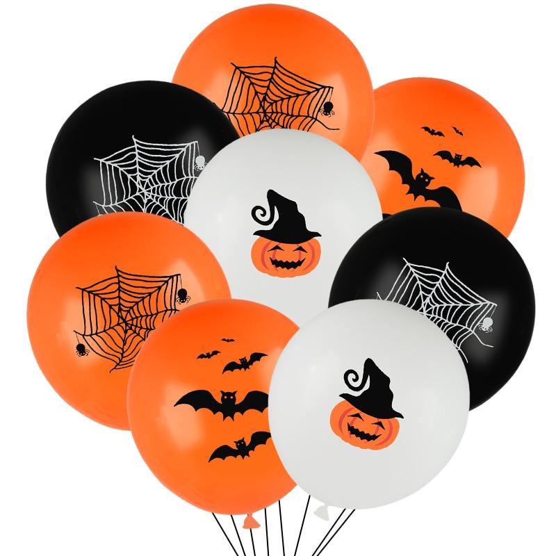 10 шт., латексные воздушные шары для Хеллоуина, Паутинные тыквы с принтом летучей мыши, оранжевые черные глобусы для Хэллоуина, Вечерние Деко...